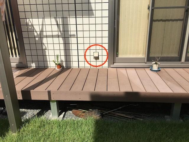 庭にコンセント設置