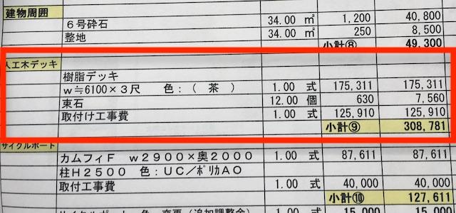 人工木ウッドデッキの値段(見積もり)