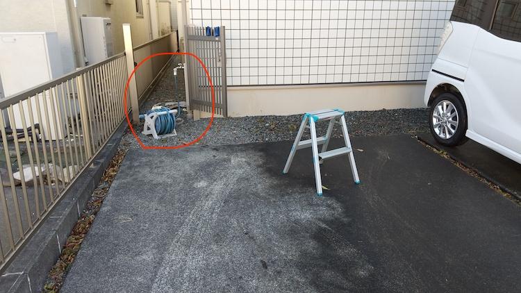 自宅の駐車スペースの水道