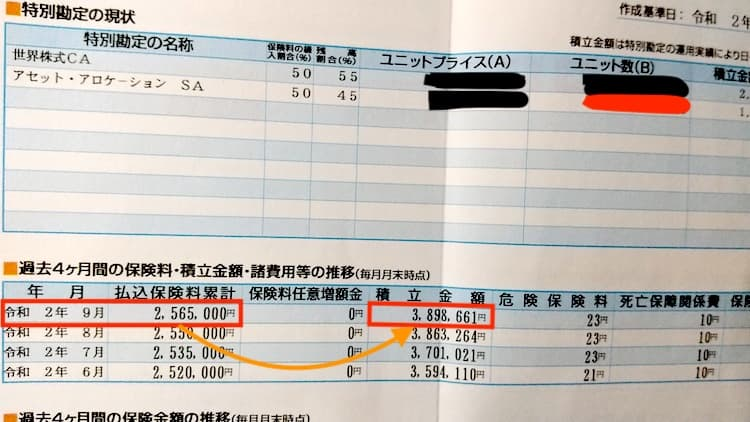 積立型の変額保険の書類